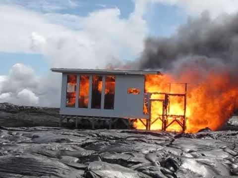 Lava Burns White Shelterpod In Kilauea