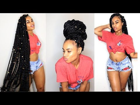 How to: NO Cornrows Knee Length CROCHET BRAIDS Senegalese Twists (BRAIDLESS natural hair style)