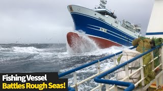 Fishing Vessel Battles Rough Waves in the North-West Atlantic | Ship In Storm