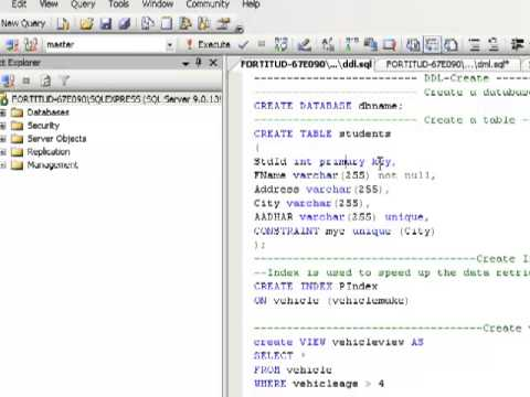 create database and table in sql server 2005, 2008, 2012