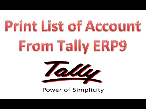 How to Print List of Accounts from Tally