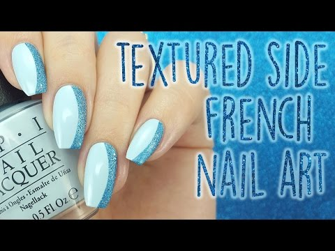 Blue Textured Side French Nail Art