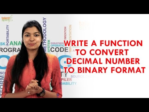 Write a Function to Convert Decimal Number to Binary Numbers | Java Programming | TalentSprint