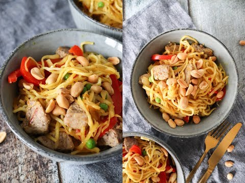 Delicious Stir Fry With Noodles, Pork And Vegetables - Easy Dinner Recipe - By One Kitchen