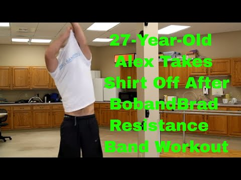 27 Year Old Alex Takes Off Shirt After Resistance Band Wall Workout.