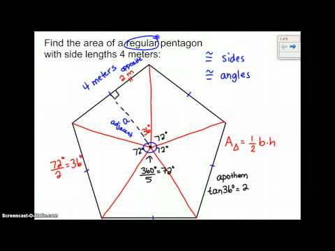 Finding the area of a regular pentagon