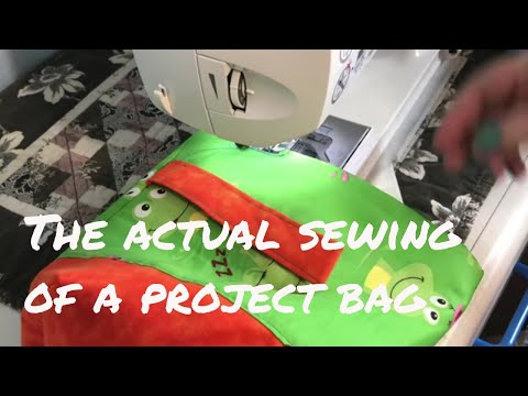 Sewing a project bag - each sewing step shown at the sewing machine