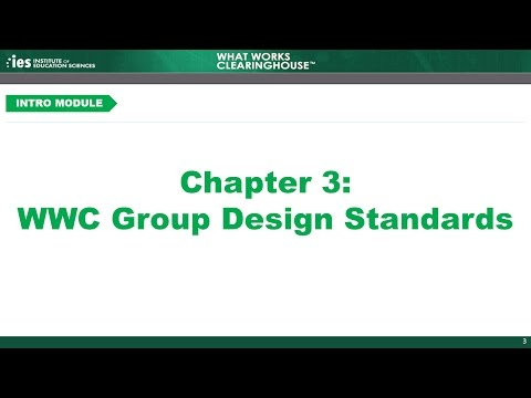 Introduction, Chapter 3: WWC Group Design Standards
