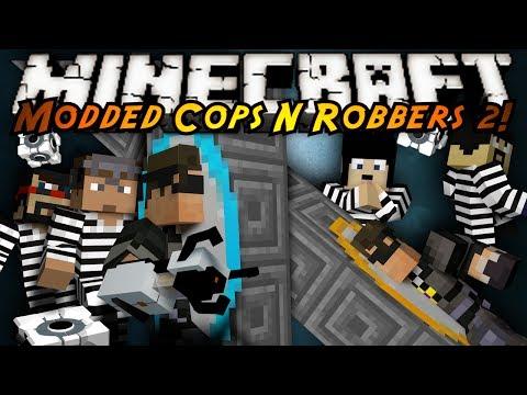 Minecraft Mini-Game : MODDED COPS N ROBBERS! PORTAL GUNS!