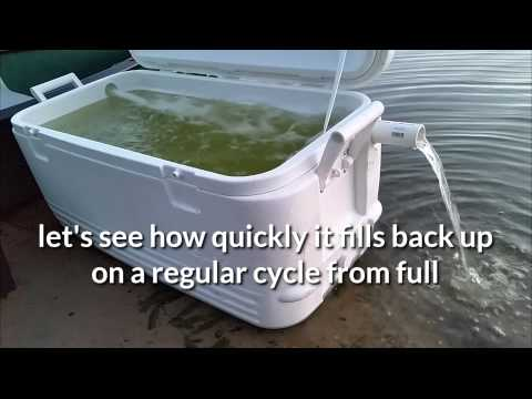 Flow through live well 25 gallon cooler