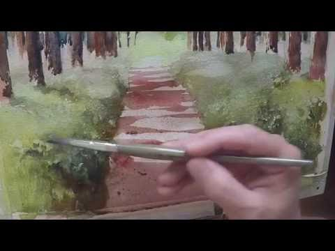 Painting a green lawn texture in watercolor using masking fluid
