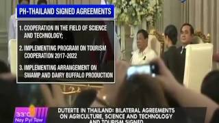 Duterte in Thailand Bilateral agreements on agriculture, science and technology and tourism signed