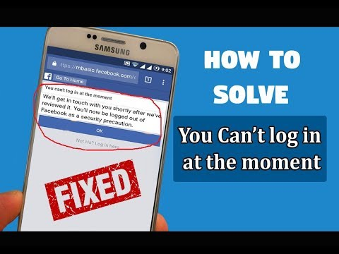 How to solve facebook you cannot login at the moment