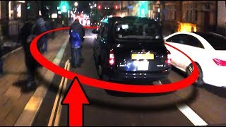 Taxi Shows Poor Driving Skills Around Cyclists
