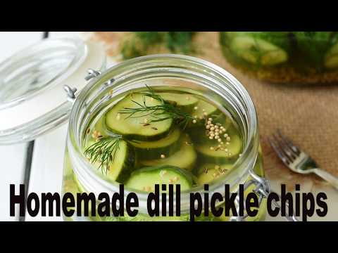 Homemade dill pickle chips