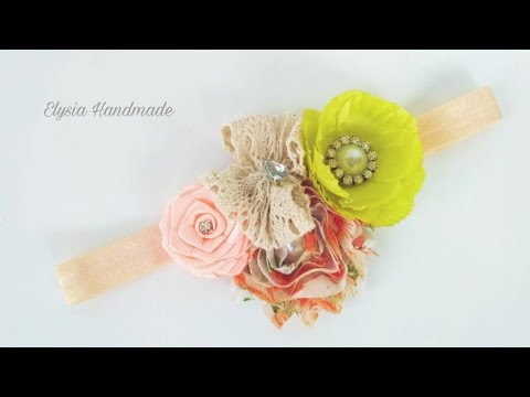 Rolled Rose For Shabby Vintage Headband For Baby and Todler | DIY by Elysia Handmade