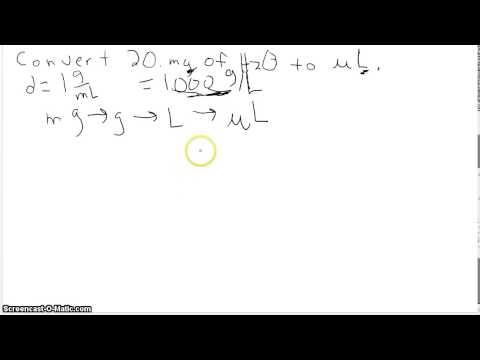 mg to uL using density