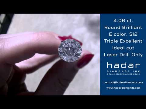 4.06 ct Laser Drilled Diamond | E color, SI2, Ideal Cut, Triple Excellent Rated