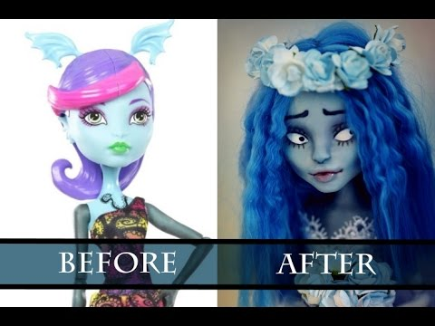 PART 1 - WORK IN PROGRESS EMILY (TIM BURTON) - MONSTER HIGH FACEUP HOW TO REPAINT A DOLL