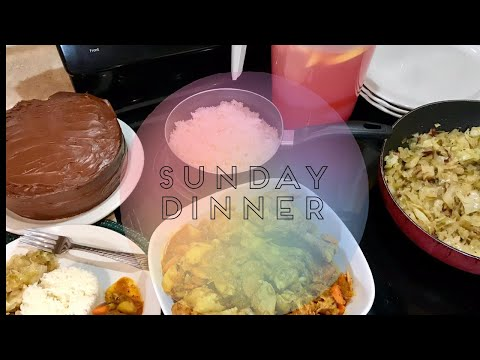 DESSERT Included!! Full Sunday Dinner Start to Finish | Jamaican Style Curry Chicken