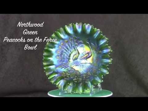 Northwood Green Peacocks on the Fence Bowl