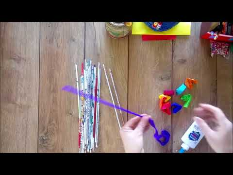 DIY How to make crepe coloured paper tubes tutorial | How to color newspaper tubes