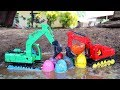 Excavator Find Surprise Egg In The Mud Construction Vehicles For Kids