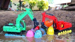 Excavator Find Surprise Egg In The Mud |  Construction Vehicles for Kids