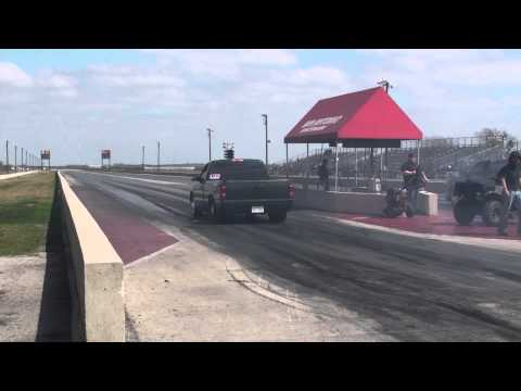 Banker Tuning Silverado making an all motor pass at San Antonio Raceway Park