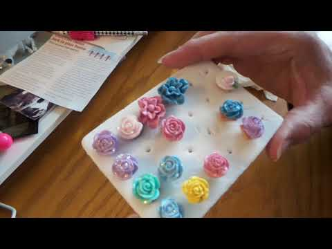 How to make pretty flower brads with homemade Polymer clay cabechons