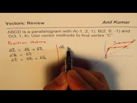 Use vector Methods to Find Vertex of a Parallelogram