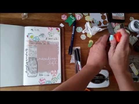 Process of Creating an Art Journal Cover Page for 100 Day Project in my Traveler's Notebook