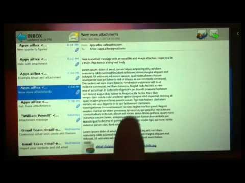aMail Blackberry (TM) Playbook Email client - attachments demo