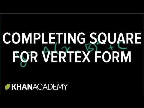 Completing the square for vertex form | Quadratic equations | Algebra I | Khan Academy