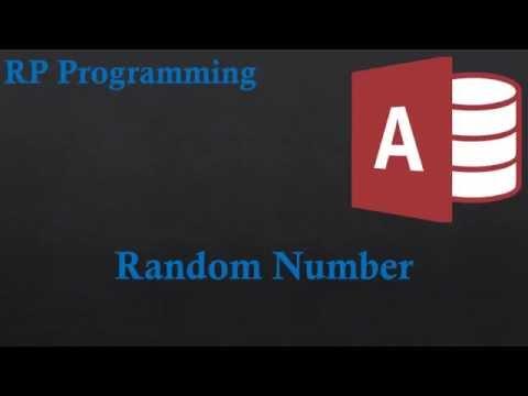 21.Random Number in Access VBA 2013