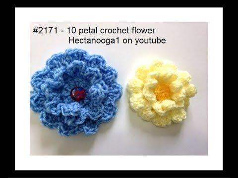 10 petal crochet flower, #2171