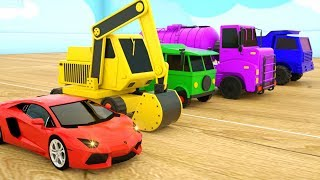 Learn Colors with Police Cars Dump Truck Strees Vehicles - Assembly Tyre Construction Vehicles