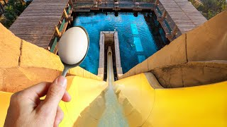 IMPOSSIBLE EGG & SPOON Challenge Down INSANE WATERSLIDES!