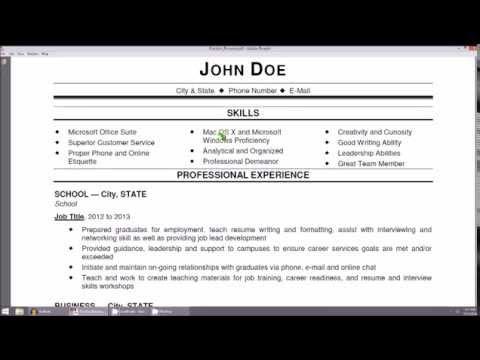 Introduction to Resumes - The Resume Basics