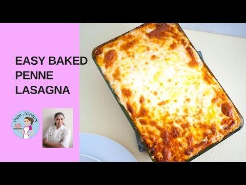 Easy Baked Penne Lasagna with Bechamel Sauce - Vegetarian Lasagna