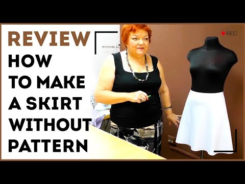 DIY: How to make a skirt without pattern. Making quarter-circle skirt with 1 seam. Sewing tutorial.