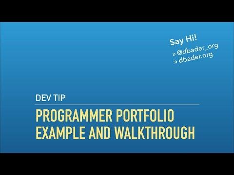 Programmer Portfolio – Example and Walkthrough