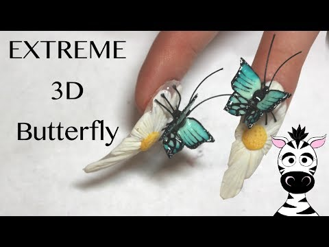 Extreme 3D Butterfly and Flower Acrylic Nail Art Tutorial | EnjoyOurs.com
