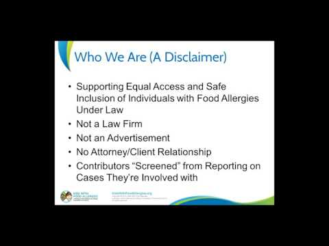 Current Topics in Food Allergy Law