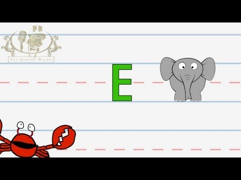 Write the letter E | Alphabet Writing lesson for children | The Singing Walrus