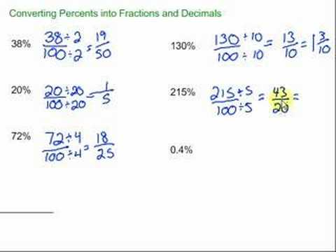 Converting Percents into Fractions and Decimals