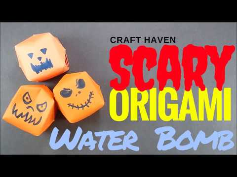 How To Make Origami Pumpkin Water Bomb - Scary Halloween Pumpkin - DIY Paper Pumpkin - Easy Origami