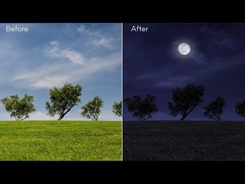 How to Create Night Scene from a Day Photo - Photoshop Tutorial [Photoshopdesire.com]