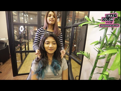 How to dye black hair blue, crazy color capri blue ombre tutorial by celebrity stylist Sana Khan