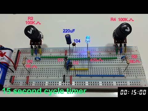 15 second cycle variable timer using 555 timer in Tamil & English, 15 sec astable multivibrator